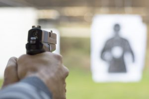 Firing Pistol at License To Carry practice target